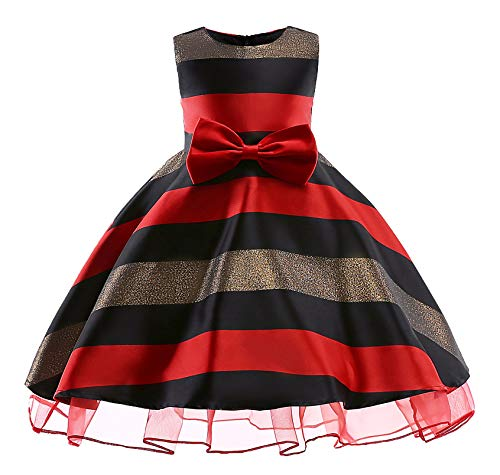 AYOMIS Litter Big Girl Dress Princess Gowns Party Wedding Dresses(Balck-2 2-3Y) -