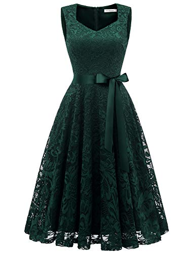 Gardenwed Elegant Floral Lace Bridesmaid Dresses Sleeveless V Neck Formal Dresses Cocktail Dresses for Women Dark Green M