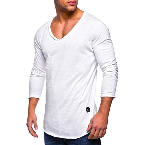 Price comparison product image Pervobs Long Sleeve Shirts,  Clearance! Men Casual Solid Long Sleeve Tee Shirt Sports Slim Fit V Neck Muscle Tops Blouse Shirts (3XL,  White)