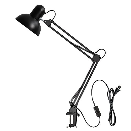 Carry360 Swing Arm Desk Lamp, Long Flexible Arm Desk Lamp Architect Table Lamp Table Clamp Mounted Light, Black Finish by Carry360