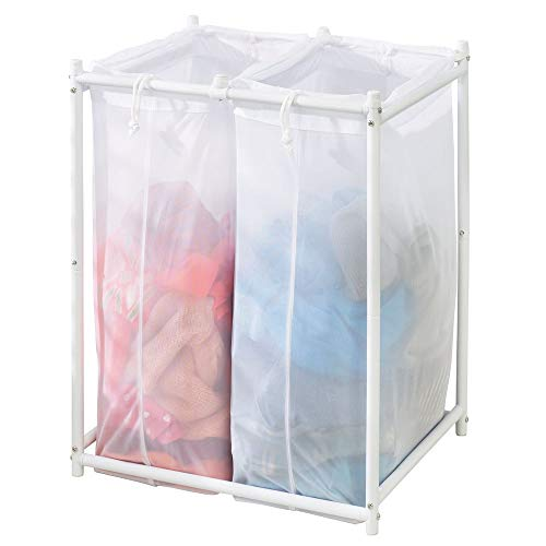 mDesign Laundry Hamper Organizer/Sorter with Metal Stand and 2 Removable Large Mesh Bags - Portable - Double Hamper Design - White (Laundry Sorter With Mesh Bags)