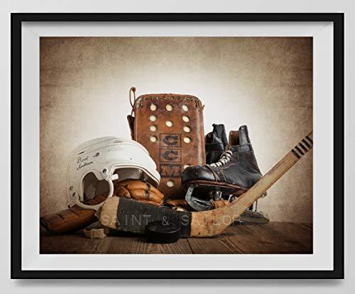 Vintage Hockey Gear Wall art, Sports Decor, Vintage Hockey Art, Hockey Photography Available as print or -