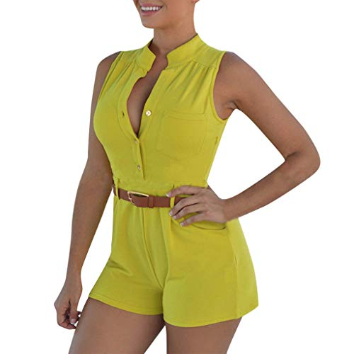 QIQIU Womens New Button V-Neck Pockets Playsuit Short Pants Casual Summer Fashion Wide Leg Beach Jumpsuits Yellow]()