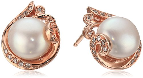 10k Rose Gold Freshwater Pearl and Diamond Accent Scrolled Stud Earrings