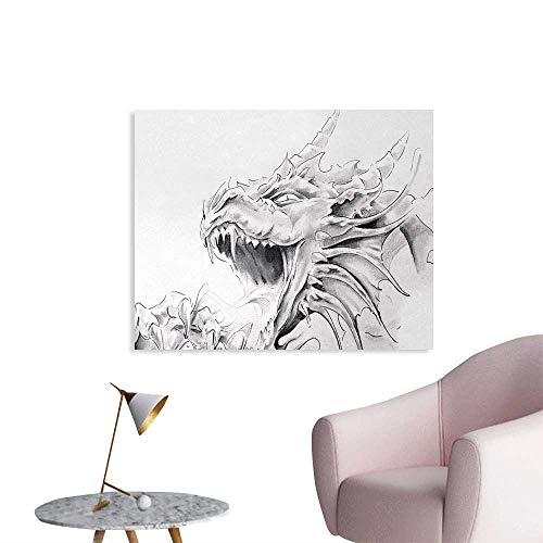 Tudouhoho Dragon Poster Paper Sketch of A Medieval Spiritual Character Mythological Creature Abstract Design Poster Wall Decor Pale Grey White W36 xL32