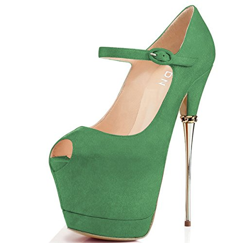 from china low shipping fee YDN Women Peep Toe Sky High Heels Platform Pumps Ankle Straps Shoes Metal Stilettos Green discount clearance low price fee shipping for sale free shipping websites discount official site 6CA40s