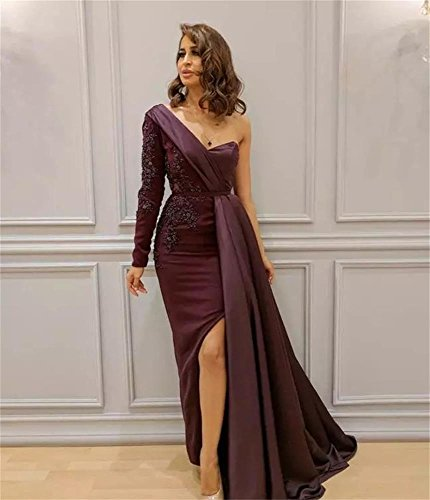 Prom with Mermaid Evening Purple Shoulder DreHouse Slit One Women's Appliques Dresses 84qnY1O