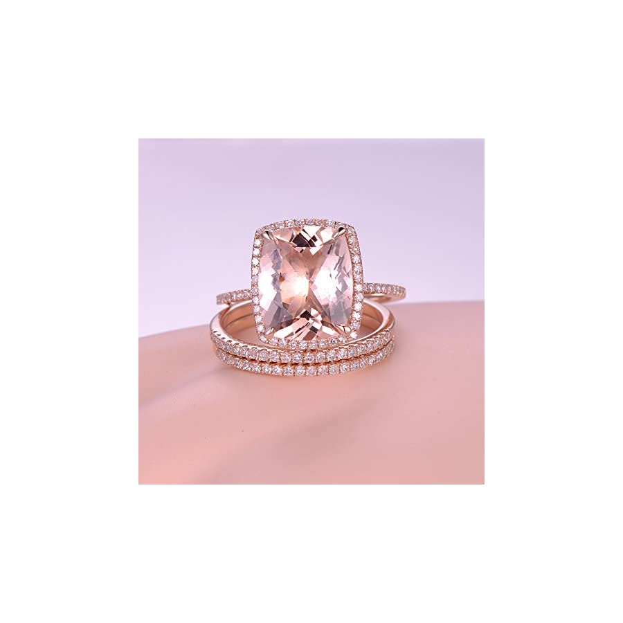 3pcs Morganite Wedding Ring Set,10x12mm Cushion Cut Pink Stone 14k ...