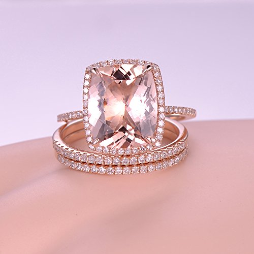 3pcs morganite wedding ring set10x12mm cushion cut pink stone 14k rose gold halo matching - Morganite Wedding Ring
