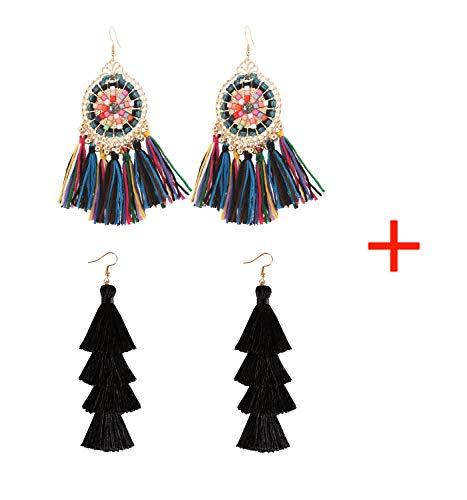 HSWE Statement Multicolor Tassel Earrings Set for Women African Beaded Fringe Earrings Fabric Thread Dangle Drop Earrings (multicolor+black)