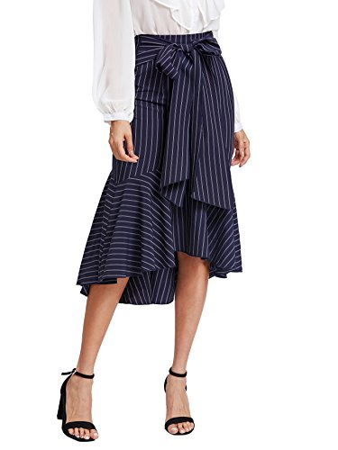(Verdusa Women's Fishtail Dip Hem Striped Skirt Navy XXL)