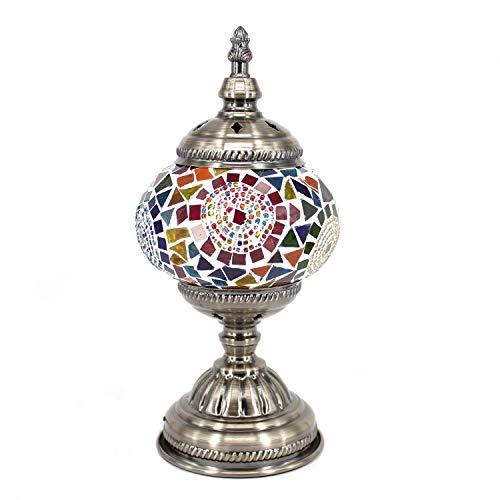 (Kindgoo Turkish Moroccan Lamp Mosaic Table Lamp Handmade Multicolored for Living Room Decor Led Bulb Included (Multi-Colored))
