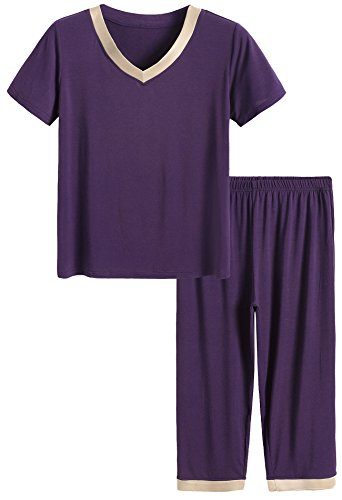 Latuza Women's Sleepwear Tops with Capri Pants Pajama Sets L Eggplant