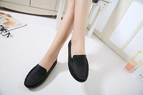 Women's Flat Comfort Poslon Black Shoes Ballet Foldable Hollow fqTqdzFx