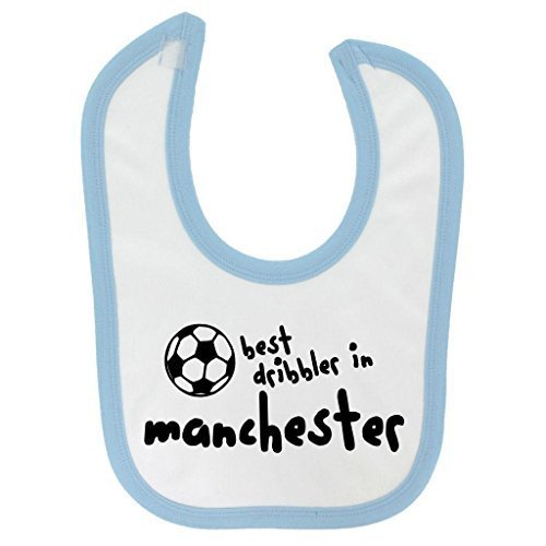 Manchester Trim - by Funny Best Dribbler in Manchester Design Baby Velcro Fastening Bib with Light Blue Contrast Trim and Black Print