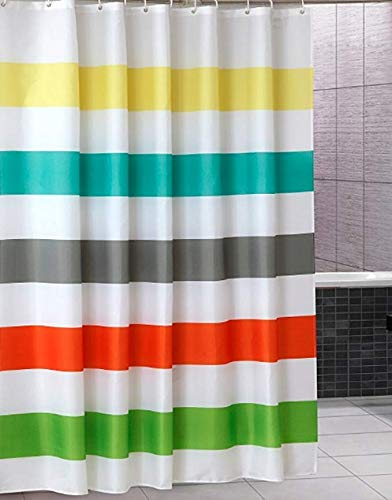 "Uphome Colorful Rainbow Cross Stripe Pattern Bathroom Shower Curtain - Waterproof Polyester Fabric Kids Decorative Curtain Ideas (72"" W x 72"" H)"