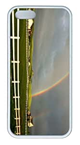 iPhone 5S Customized Unique Landscape Flowers Rainbow Over Field New Fashion TPU White iPhone 5/5S Cases