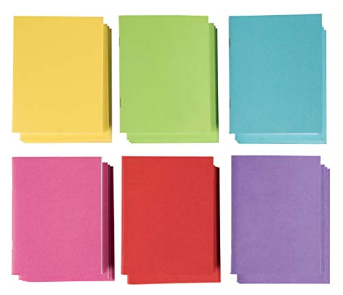 Blank Book - 24-Pack Colorful Notebooks, Unlined Plain Travel Journals for Students, Kids Diaries, Creative Writing Projects, 6 Assorted Colors, 4.25 x 5.5 Inches, 24 Sheets