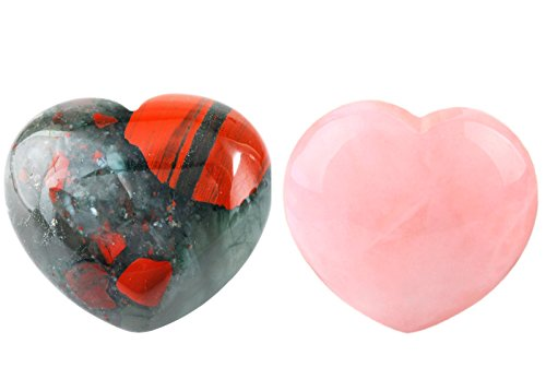rockcloud Healing Crystal Rose Quartz&Africa Bloodstone Carved Palm Worry Stone Chakra Reiki Balancing(Pack of 2)
