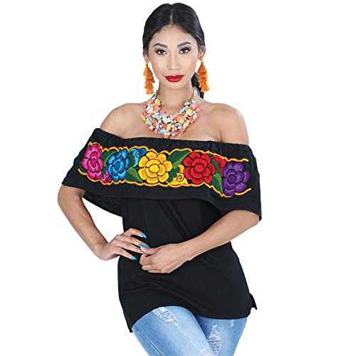 - Mexico Artesanal Women's Embroidered Traditional Mexican Blouse (Black, L)