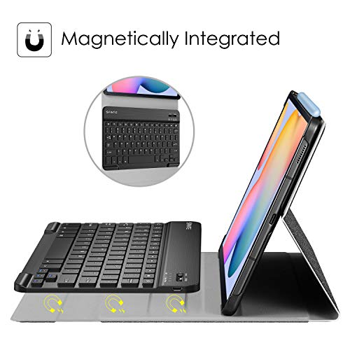 Fintie Keyboard Case for Samsung Galaxy Tab S6 Lite 10.4'' 2020 Model SM-P610 (Wi-Fi) SM-P615 (LTE), Slim Stand Cover with Secure S Pen Holder Detachable Wireless Bluetooth Keyboard, Gray