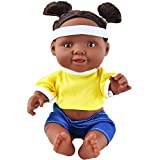 """HiPlay 11"""" African American Baby Doll, Realistic Full Silicone Vinyl Black Girl Dolls, Great Gift for Kids, Toddlers (Girls)"""
