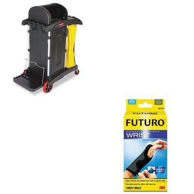 KITMMM10770ENRCP9T7500BK - Value Kit - Rubbermaid-High Security Janitor Cart for Healthcare Settings, Black (RCP9T7500BK) and Futuro Adjustable Reversible Splint Wrist Brace (MMM10770EN)