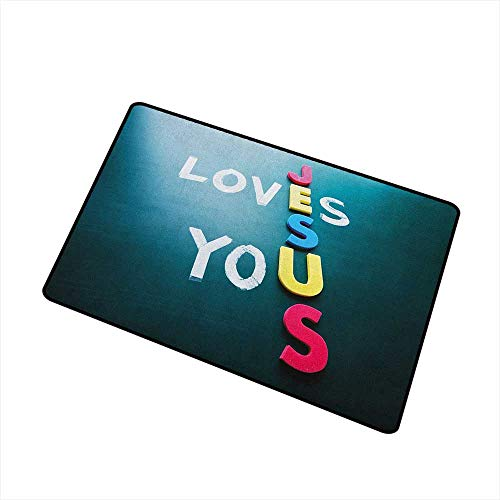 Wang Hai Chuan Quote Inlet Outdoor Door mat Conceptual Words on The Blackboard He Loves You Phrase Colorful Letters Catch dust Snow and mud W31.5 x L47.2 Inch Petrol Blue Yellow Pink