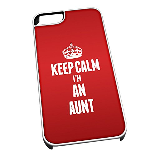 Bianco cover per iPhone 5/5S 2521 rosso Keep Calm I m An Aunt