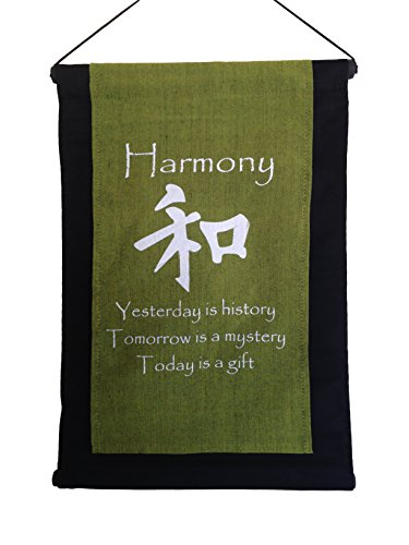 - Wisdom Arts 6138 - Inspirational Quote Banner/Scroll - Harmony Quote (Yesterday is History.). Olive Green.