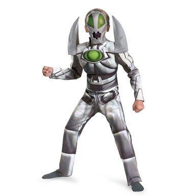 (Redakai Metanoid Muscle Deluxe Costume, Silver/Green/Black, Medium)