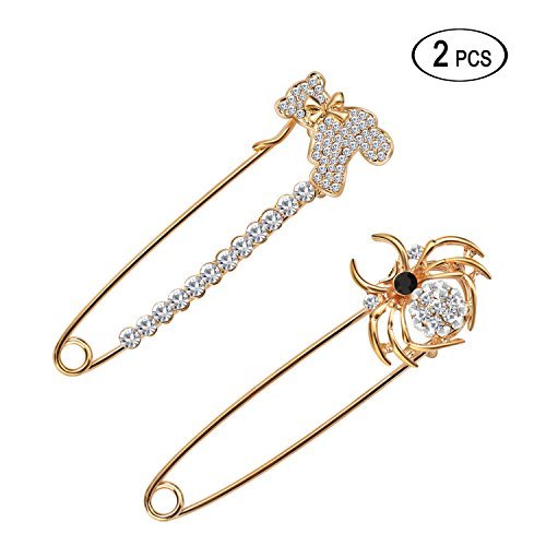 Women's Safety Scarf Pin Brooch Rhinestone Sweater Hat Crystal Breastpin with Swan&Fox&Fish&Crown Design by Tagoo (2pcs (bear+spider))