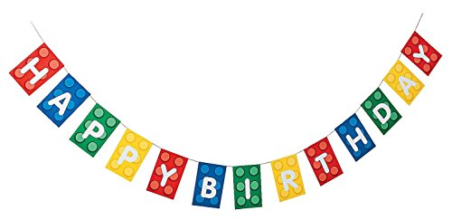 Fun Express Blocks Brick Party Happy Birthday Banner - Paper. 7 ft.
