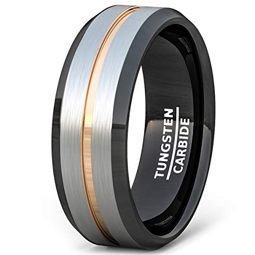 Duke Collections Tungsten Ring Rose Gold Groove Tri Color 8mm Mens Band Beveled Edge Comfort Fit (8.5) (Comfort Fit Color Tri Ring)