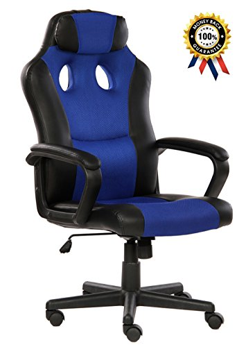 SEATZONE Smile Face Series Leather Gaming Chair, Racing Style Large Bucket Seat Computer Desk Chair, Executive Office Swivel Chair with Headrest, Blue by SEATZONE