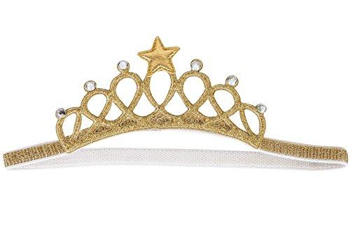 Star Girl Fancy Dress (Baby Tiara Crown Elastic Headband Birthday Wedding Fancy Dress Gold / Silver (Gold))