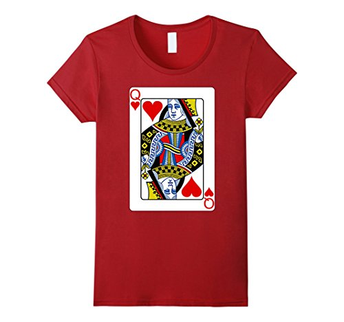 Women's Playing Card Queen of Hearts T-Shirt Valentine's Day Costume XL Cranberry (Queen Of Hearts Card Adult Costume)