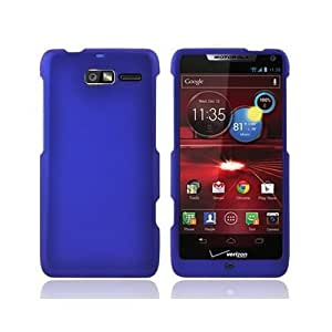 Matte Snap-On BLUE RUBBERIZED Case Cover For MOTOROLA XT907 DROID RAZR M VERIZON With PRY- Triangle Case...