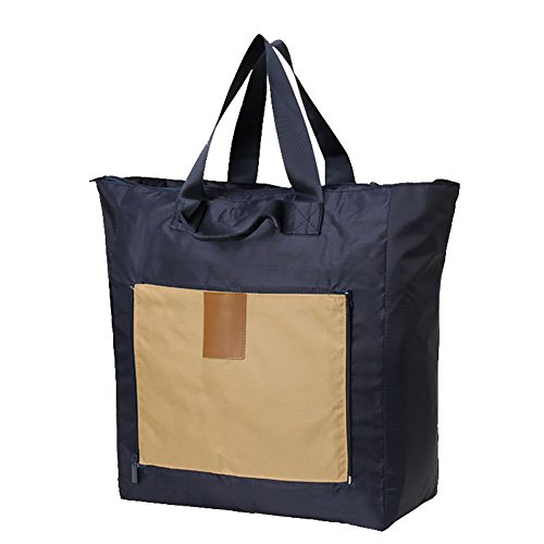 MYU Design Large Capacity Foldable Waterproof Travel Duffel Bag Shopping Totes (Navy Blue)