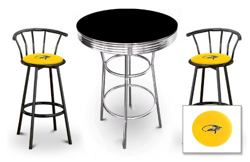 The Furniture Cove New 3 Piece Iguana Reptile Themed Chrome Metal Bar Table Set with Black Table Top and 2 Bar Stools with Your Choice Of Seat Cushion Vinyl Color.