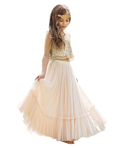 KSDN Two Pieces Sequined Exotic Princess Lace Bohemian Wedding Flower Girl Dress 8 Picture Color]()