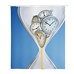 GULTMEE Meditation Shower Curtain,Hourglass Time Clocks with Sand Decorations for Home A Vintage Design,Cloth Fabric Bathroom Decor Set with Hooks 36x72 Inches