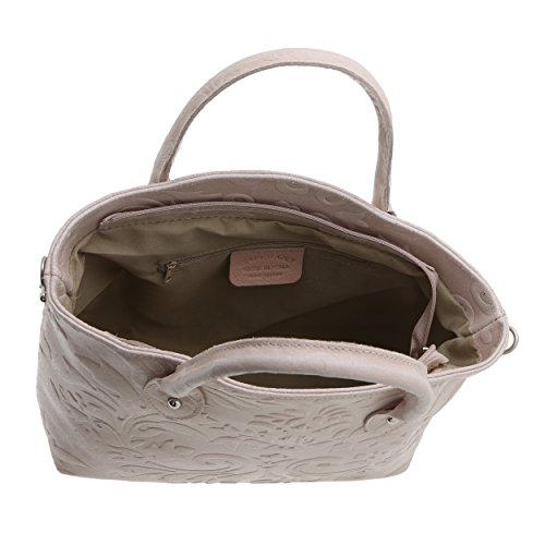 Rosa Borse Italy da 11 Realizzata Mano in a Borsa Made Vera x Pelle Handbag Donna 28 Antico 35 Cm x Chicca in RdFqR