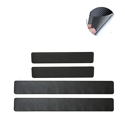 4Pcs Carbon Fiber Leather Car Door Sill Scuff Plate Guard Sills Protector Trim Autoparts Accessories For Audi A3 A4 A5 A6 A7 A8 A3 e-tron A4 allroad Q3 Q5 Q7 Q8 Q5 hybrid