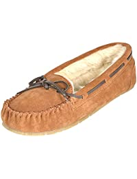 Women's Sheepskin Slip On House Moccasin Slippers Loafers Shoes