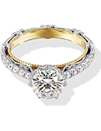 Solid 14k White Gold Yellow Gold 1.5ct Center 7.5mm G-H-I Color Heart Arrows Cut Vintage Moissanite Engagement Ring Solitare with Accents Band Width 3.4mm