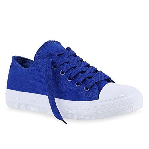 Damen Sneakers Sportschuhe Sneaker Low Denim Stoffschuhe Blumen Camouflage Flandell Blau Weiss Weiss