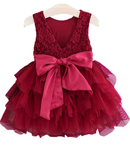 APRIL GIRL Flower Girl Dress, Lace Dress 3/4 Sleeve Dress (Red Tutu, 5 Years)