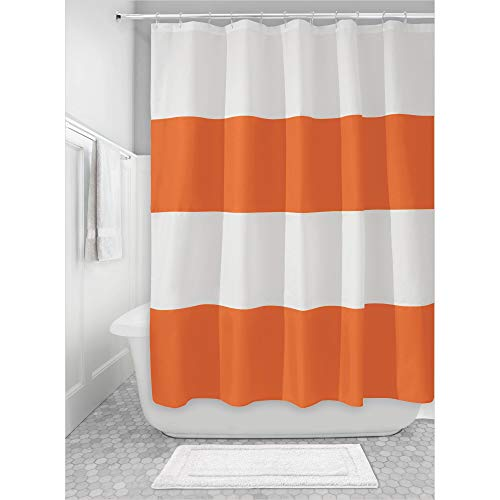 iDesign Mildew-Free Water-Repellent Zeno Fabric Shower Curtain, 72-Inch by 72-Inch, Orange/White (Shower And Curtain White Orange)