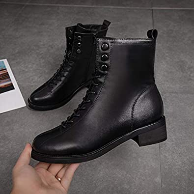 HOESCZS Boots Womens Martin Boots Fashion Autumn and Winter Heeled Leather Boots Thickening Military Boots Thick with The Tube Womens Boots
